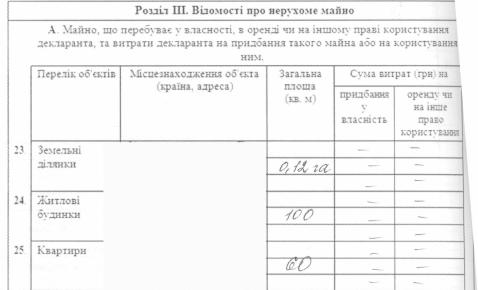 Задекларированное имущество Татьяны Пинтелиной