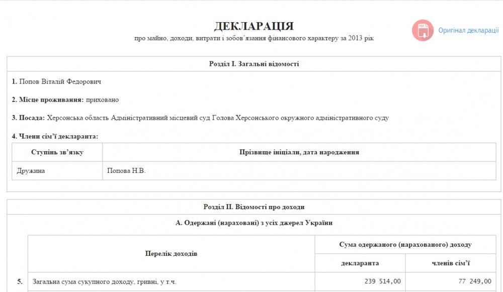 Декларация Виталия Попова