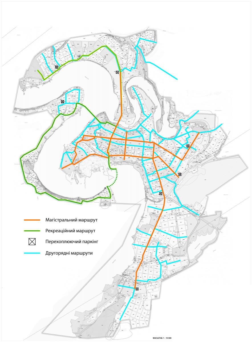 Рекомендована схема розміщення об'єктів велосипедної інфраструктури