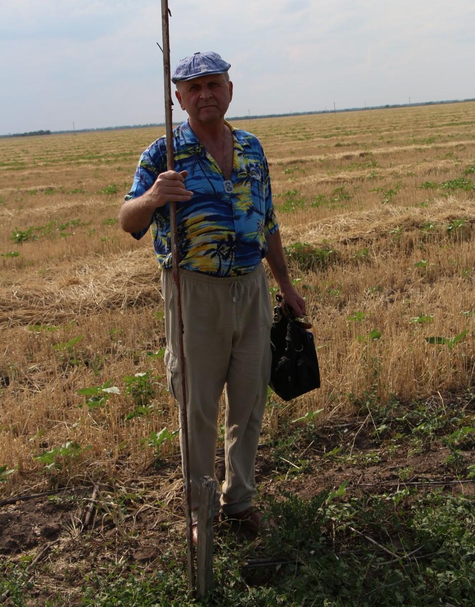 Валерий Кузнецов показывает на поле границы своего участка