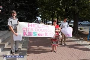 В Николаеве горожане протестуют против строительства АЗС