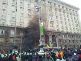 Протестующие, забаррикадировавшиеся в Киевской горадминистрации, отбили попытку