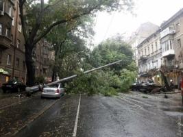 В центре Одессы столб упал на автомобиль. Жертв нет (ФОТО, ВИДЕО)