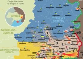 Карта боевых действий в зоне АТО по состоянию на 8 августа