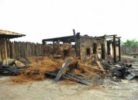 От удара молнии загорелся культурно-исторический комплекс «Запорожская Сечь»