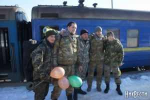 После службы в зоне АТО в Николаев  вернулись нацгвардейцы