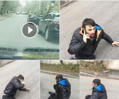 Автолюбитель выложил в сеть видео, на котором аферист бросается под колеса его автомобиля