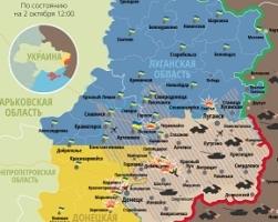 Актуальная карта боевых действий в зоне АТО по состоянию на 2 октября
