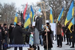 В Херсоне на митинге по случаю годовщины принятия «диктаторских законов» стояла виселица, на которой висел «депутат-предатель»