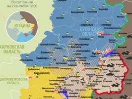 Актуальная карта боевых действий в зоне АТО по состоянию на 2 сентября