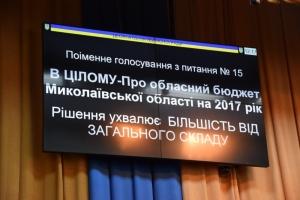 На сессии Николаевского областного совета депутаты утвердили бюджет области на 2017 год