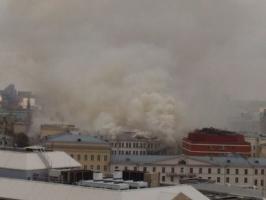 В Москве горит здание Минобороны России